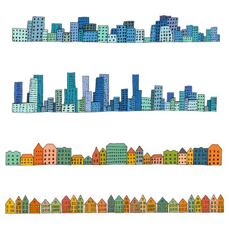 midtown: Set of 4 borders of european, dutch, urban houses. Hand drawn doodle city street sketch. Ink illustration. Illustration