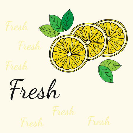 limon: Hand drawn lemon colorful slices with leaves and sign Fresh on background. Illustration