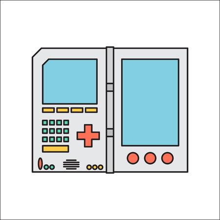 Old invent gadget. Flat designe. Handheld console.