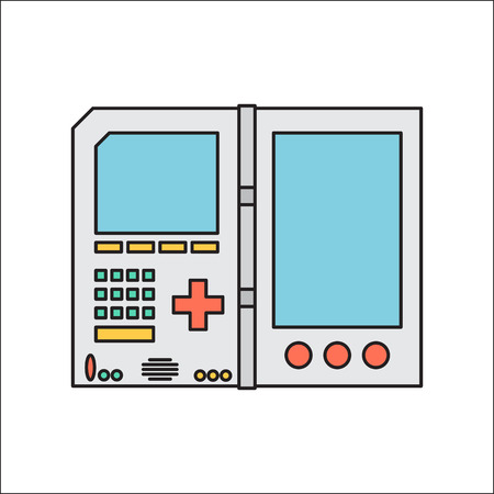 portable console: Old invent gadget. Flat designe. Handheld console.
