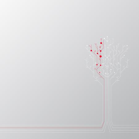 Abstract techno tree. Vector illustration