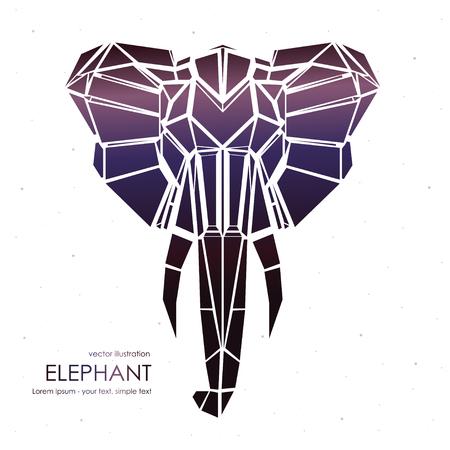 Stylized front view elephant head. Elephant face logo Vector illustration. Illustration