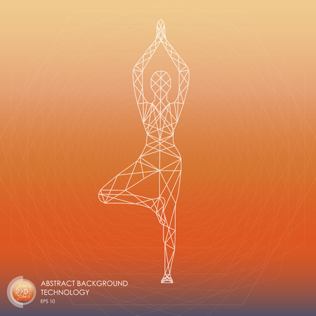 Yoga, abstract geometric vector silhouette of points and lines. Vector illustration. Technology Illustration