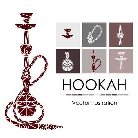 Hookah labels, badges and design elements collection. Vintage shisha logo. Lounge cafe emblem. Arabian bar or house, shop.