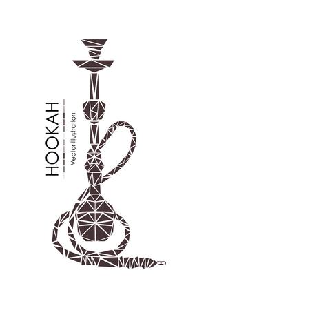 Waterpijplabels, kentekens en ontwerpelementeninzameling. Vintage shisha-logo. Lounge café embleem. Arabische bar of huis, winkel.