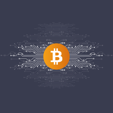 Virtual symbols of the coin bitcoin. Crypto currency. Abstract technology. Vettoriali
