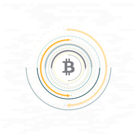 Virtual symbols of the coin bitcoin. Crypto currency. Abstract technology. Stock Illustratie