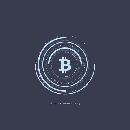 Virtual symbols of the coin bitcoin. Crypto currency. Abstract technology. Illustration