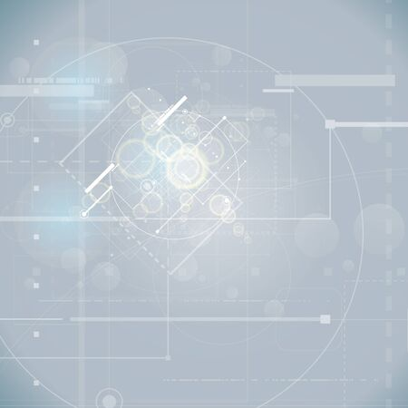 Abstract technology background with various technological elements. Vector illustration.