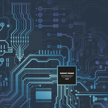 Vector circuit board illustration. Abstract technology