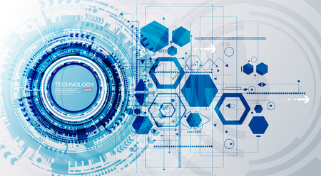 Abstract technological background with various technological elements. Structure pattern technology backdrop.