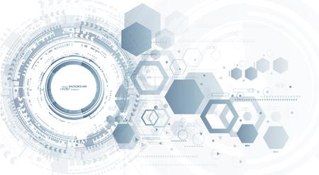 Fondo de tecnología y círculo de tecnología digital abstracto con diversos elementos tecnológicos.