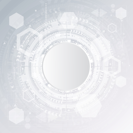 Technology background and abstract digital tech circle with various technological elements.