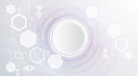 Technology background and abstract digital tech circle with various technological elements. Vector illustration. 矢量图像
