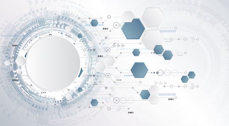 Technology background and abstract digital tech circle with various technological elements. Vector illustration