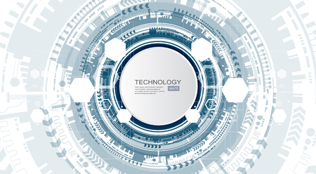 Technology background and abstract digital tech circle with various technological elements. Vector illustration. Ilustrace