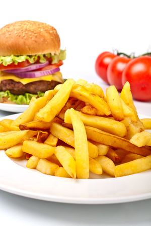 a big cheeseburger and a large portion of french fries with tomatoes photo
