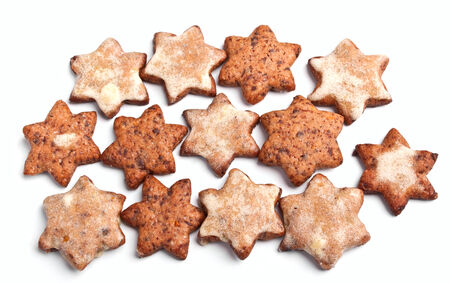 choco chips: group of star-shaped homemade christmas cookies