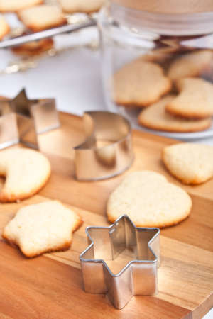 cooky: homemade cookies with various cookie forms and some cookies in a glass jar Stock Photo