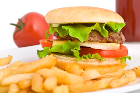 Hamburger with fries and cola photo
