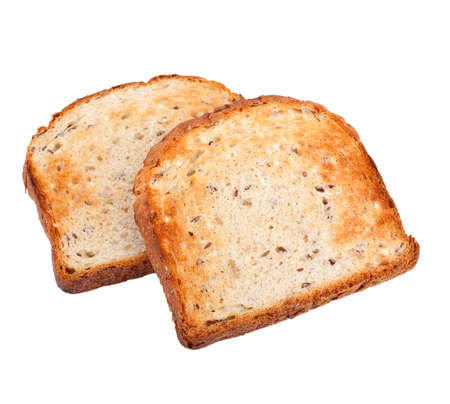 two crispy white bread toasts isolated on white background photo
