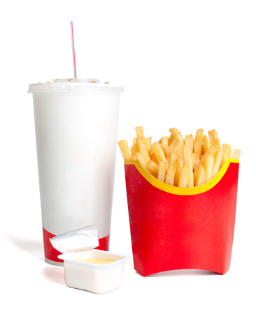objects drink: French fries with cheese sauce and a large drink