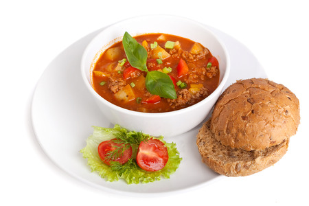 minced meat and vegetable tomato soup photo