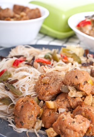 rice noodles with vegetables and soy meat photo