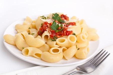 single serving of pasta with tomato sauce Banco de Imagens
