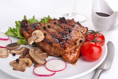 raddish: one serving of pork chop with mushrooms and raddish