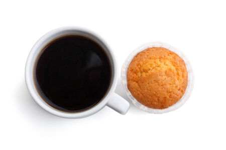 coffee and muffin on white background photo