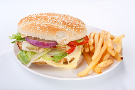 Cheeseburger mit Französisch frites auf weiße Platte Standard-Bild - 31593366