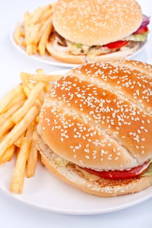 Zwei Cheeseburger mit Französisch frites auf weißem Teller Standard-Bild - 31593368