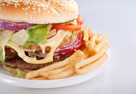 Cheeseburger mit Französisch frites auf Einwegplatte Standard-Bild - 31593372