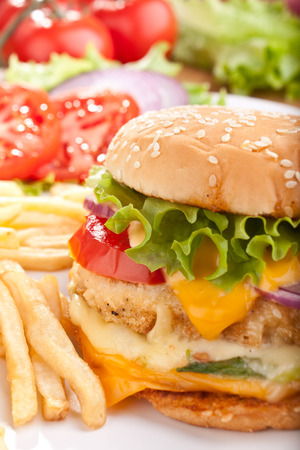 delicious cheeseburger with melted cheese and french fries and ingredients photo