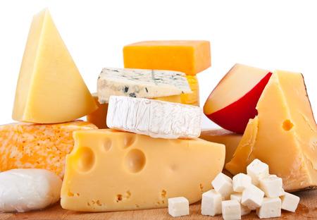 queso blanco: Varios tipos de composición de queso Foto de archivo