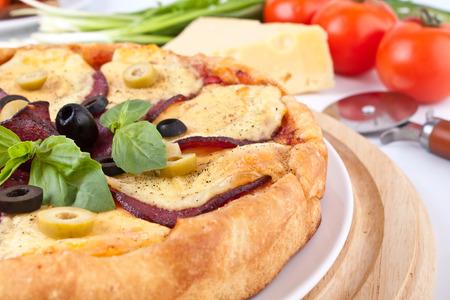 Salami Pizza Nahaufnahme mit Zutaten Standard-Bild - 31593493