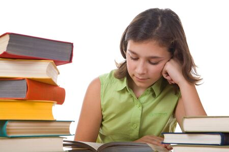 girl and books Imagens