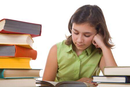 girl and books Standard-Bild