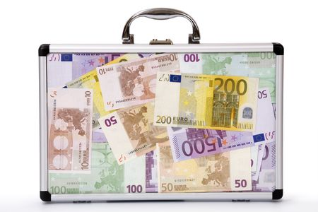 Suitcase filled euro-notes Stock Photo