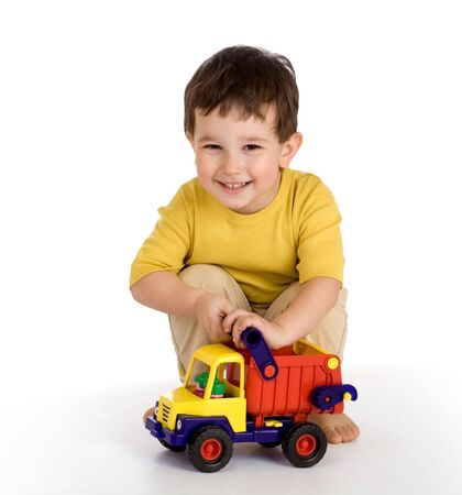 boy and truck Stock Photo