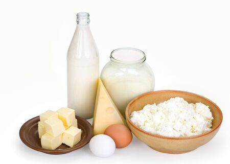 considerable: Products containing a calcium considerable quantity on a white background
