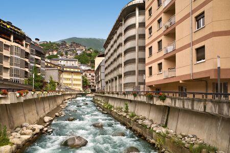Street in Escaldes, Andorra, Pyrenees , Spain