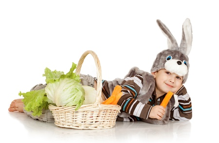 little boy in a suit of a rabbit on a white background photo