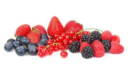 different fresh berries on a white background photo