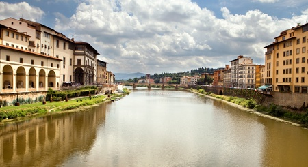 Arno river in Florence (Firenze), Tuscany, Italy.Panorama Stock Photo