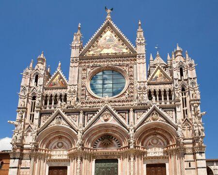 siena: Facade of Siena dome (Duomo di Siena), Italy Stock Photo