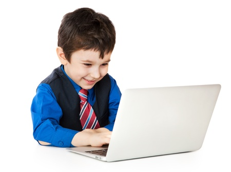 Smile child with notebook on white background