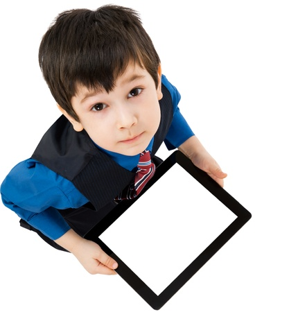 Portrait child with digital tablet on white background photo