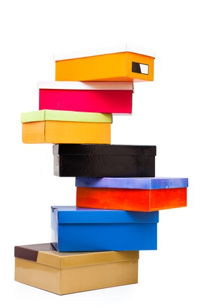 pyramid of colorful boxes on white background photo